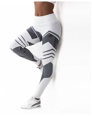 S Trouser White Fitness Tight Gym Trousers Running High For Printed Elastic Long Women Sports Exercise Pants Yoga Waist Jogging qawWUH