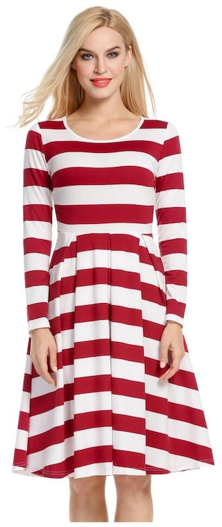Dress Large Hem Splicing Slim Dress Women Pleated Sleeve Swing Color Long Striped zqawt04