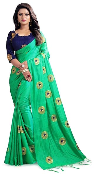 d84e7991db Buy Women Mode Green Color Silk Party wear casual wear saree with ...