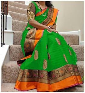 Women Mode Green Art Silk Casual Wear Saree