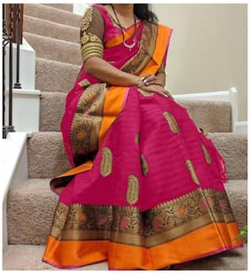 Women Mode Silk Universal Embroidered work Saree - Pink , With blouse