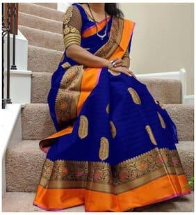 Women Mode Voilet Art Silk Casual Wear Saree