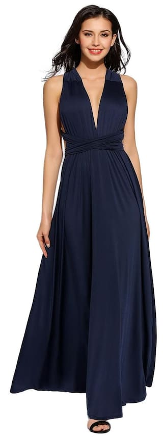 Sleeveless Dark Women Sexy Multiway Backless Solid Party Dress Blue Evening Bandage SRPPq