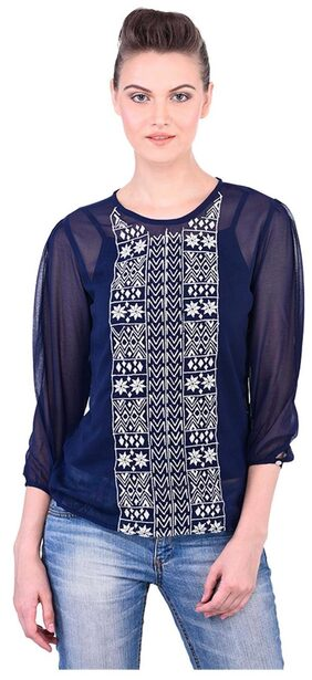 Women Navy Embroidered Top