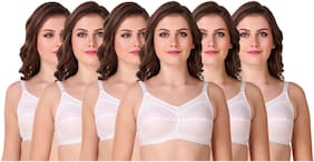 CYOC Set of 6 Non Padded Cotton Cage Bra - White