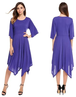 Women O-Neck Flare Short Sleeve Irregular Hem Loose Pullover Dress