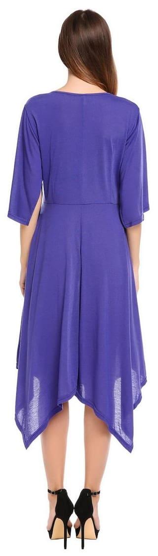 Women O-Neck Flare Short Sleeve Irregular Hem Loose Pullover Dress