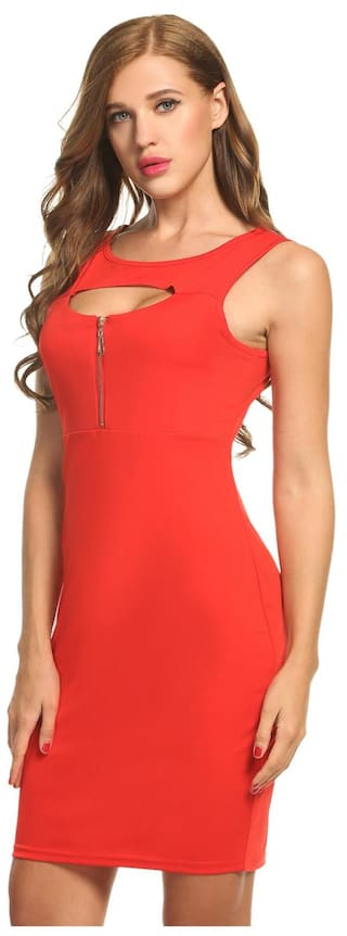 Zip Women Neck Red Front Pencil Dress Party Sleeveless O Keyhole Cocktail pprqX