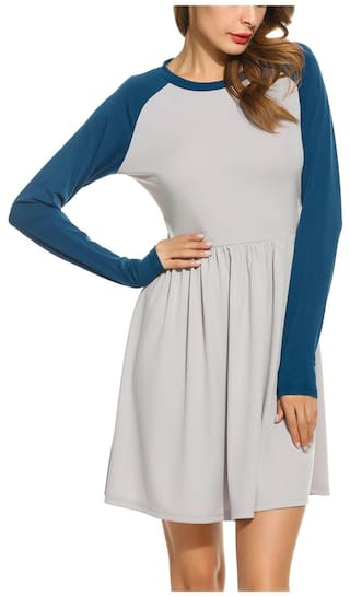 Dress Blue Sleeve Raglan and Lake Neck O Casual Flare Fit Women Patchwork Betterlife wqv76x
