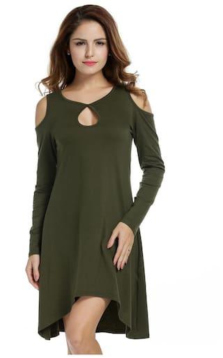 Dress Casual Dress Loose Asymmetric Off Sleeve shoulder Women Hem Long Knee Shift zX7n4Px