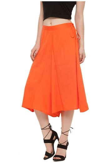 Orange Rayon Flared Culuttoes Solid Women dqH5nxWOd