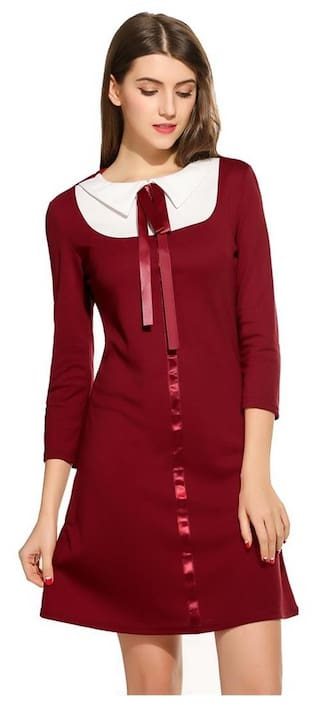 Women Peter Pan Collar Bow 3/4 Sleeve Slim Cocktail Party A-Line Dress