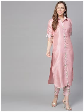 Women Pink Solid Kurti with Pant