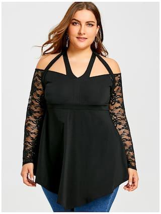 Shoulder Cold LL Lace Store Blouse Women Sleeve Plus Size wqBFIWx1zX