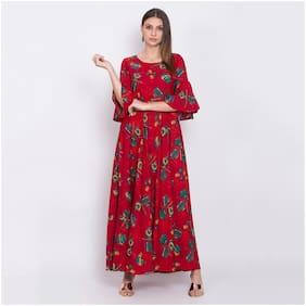 O Madam Red Printed Maxi dress
