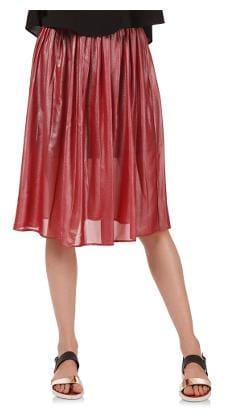 Oxolloxo Printed A-line Skirt Midi Skirt - Red