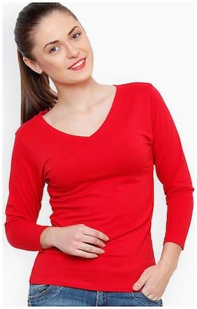 Sundish Women Dyed V neck T shirt - Red