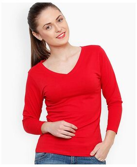 Women Regular Fit V-Neck Red T-Shirt
