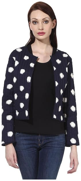 Oxolloxo Women Printed Regular FIt Blazer - Blue