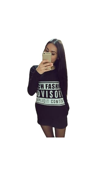 Paragraph Print Letter Women Sweater Pullover Long Solid Neck Round v0qOa