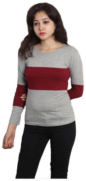 HIMGIRI INTERNATIONAL Women Grey Regular fit Round neck Cotton T shirt