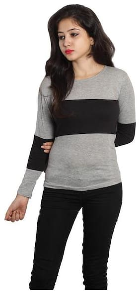HIMGIRI INTERNATIONAL Women Solid Round neck T shirt - Grey