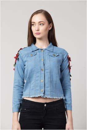 Arbiter Collection Women Solid Denim Jacket - Blue