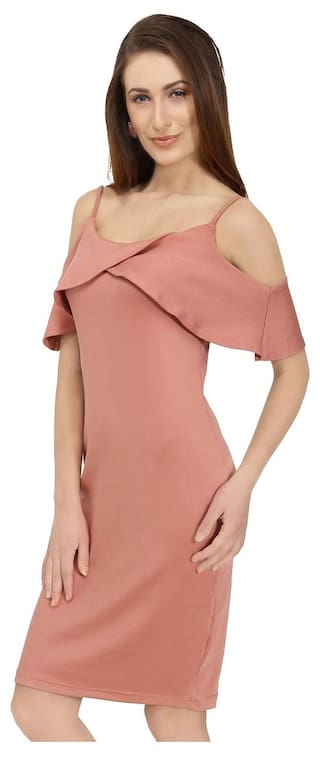 Shoulder Women Ruffled Sleeve Pink Cold Dress fwTzq