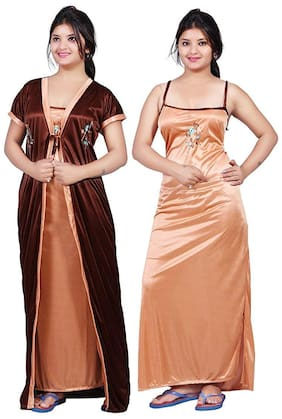 Ajira Beige & Brown Nighty with Robe