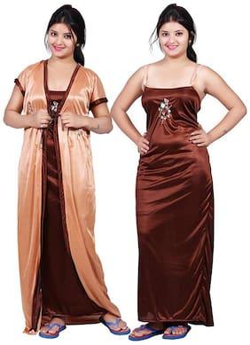 Ajira Brown & Beige Nighty with Robe