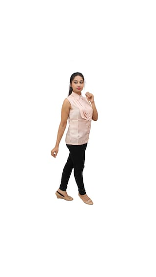 Women's Shirt Beige Beige Shirt Pleated Pleated Satin Satin Women's gwAIR