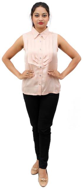 RIVI Women Beige Printed Regular Fit Shirt