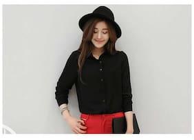 Women's Black Elegant Long Sleeves Formal Shirt