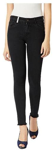 Miss Chase Women Slim Fit High Rise Solid Jeans - Black