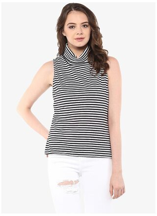 Miss Chase Women's Black & White Sleeveless High Neck Striped Top