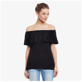Miss Chase Women Solid Regular top - Black