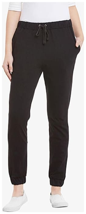 Miss Chase Women's Black Solid Regular Length Relaxed Fit Joggers