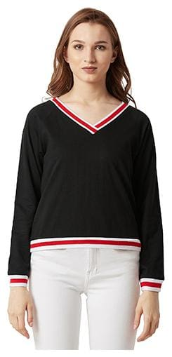 Miss Chase Women Solid Sweatshirt - Black