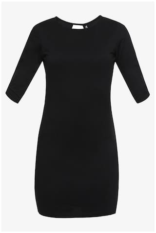 Mini 3 Chase Sleeves Cut Black Dresses Round Solid Miss Women's 4 Out Fit Neck Slim 48fO8