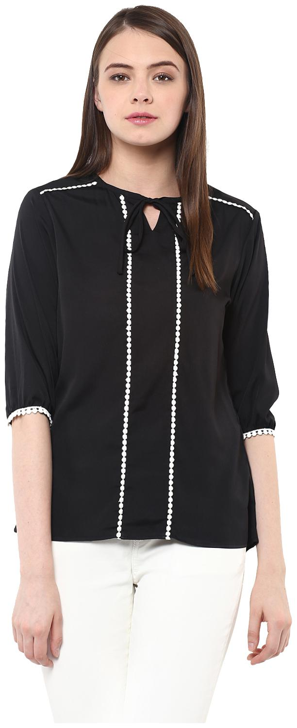 Miss Chase Women Solid Regular top   Black by Miss Chase