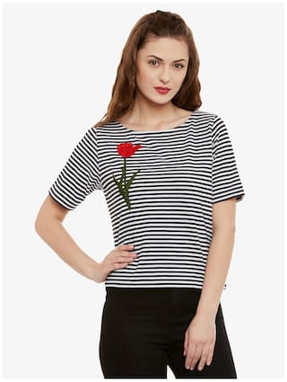 Miss Chase Women's Black & White Round Neck Half Sleeves Striped embroidered Patch work Top