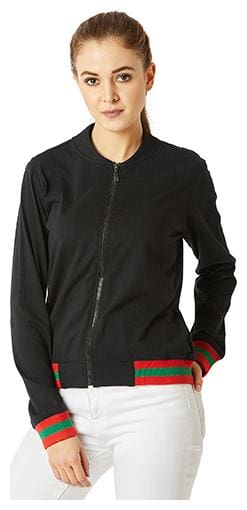 Miss Chase Women Solid Bomber Jacket - Black