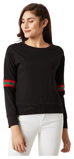 Miss Chase Women Solid Sweatshirt - Black