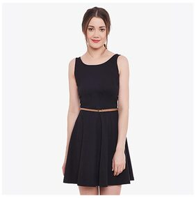 Miss Chase Solid A-line Dress Dress - Black