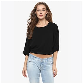 Miss Chase Women's Black Solid 3/4 Sleeves Round Neck Slitted Crop Tops