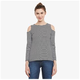 Miss Chase Women's Black & White Solid Round Neck Full Sleeves Cold Shoulder Top