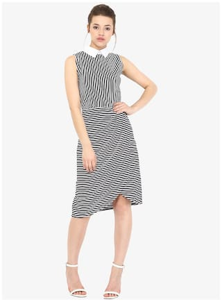 Miss Chase Women's Black & White Sleevless Round Neck Striped Pleated Knee-Length Dress