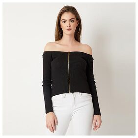 Women's Black Off-Shoulder Full Sleeve Cotton Solid Zippered Bardot Style Top