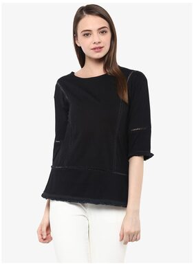 Miss Chase Women's Black 3/4 Sleeve Round Neck Solid Panelled Top