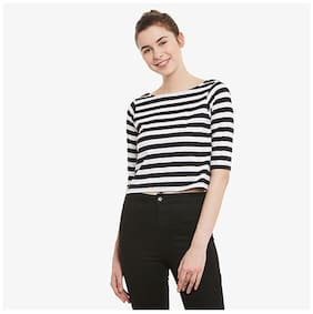 Miss Chase Women's Black & White Striped Boat Neck Elbow Length Crop Crop Top